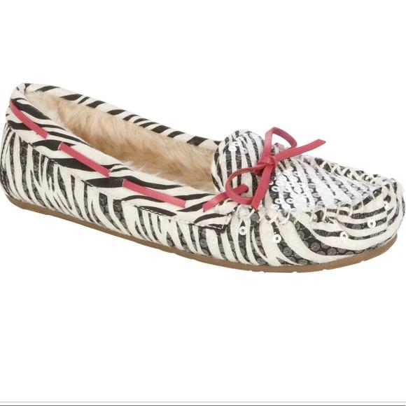 90ba5c8be59 Bongo Women s Zebra sequin Moxie Moccasin Slipper